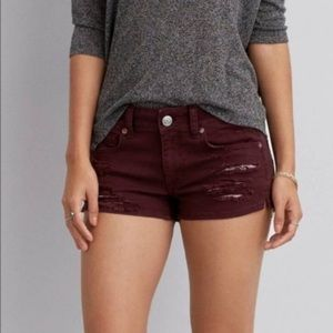 AEO Stretch Shortie Maroon Jean Shorts Distressed
